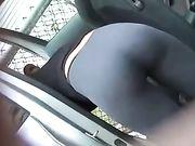 Buen culo en pantalones de yoga ajustados filmado